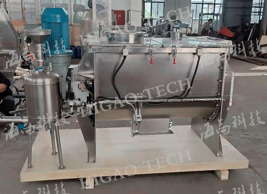 RPM-500 Ribbon Paddle Mixer with liquid spray device
